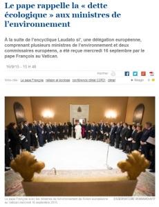2015 Pape Ecologie ministres