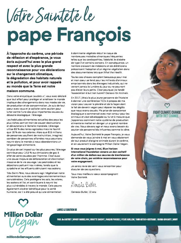 2019 ECOLOGIE Appel au pape Vegan