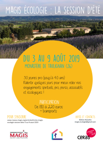 Session Ecolo Magis - Ceras - été 2019 - Flyer
